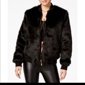 NWT Say What? faux fur Black coat